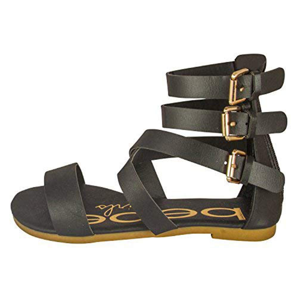 bebe Toddler Girl Gladiator Sandal With Back Zipper And Buckles (See More Colors and Sizes)