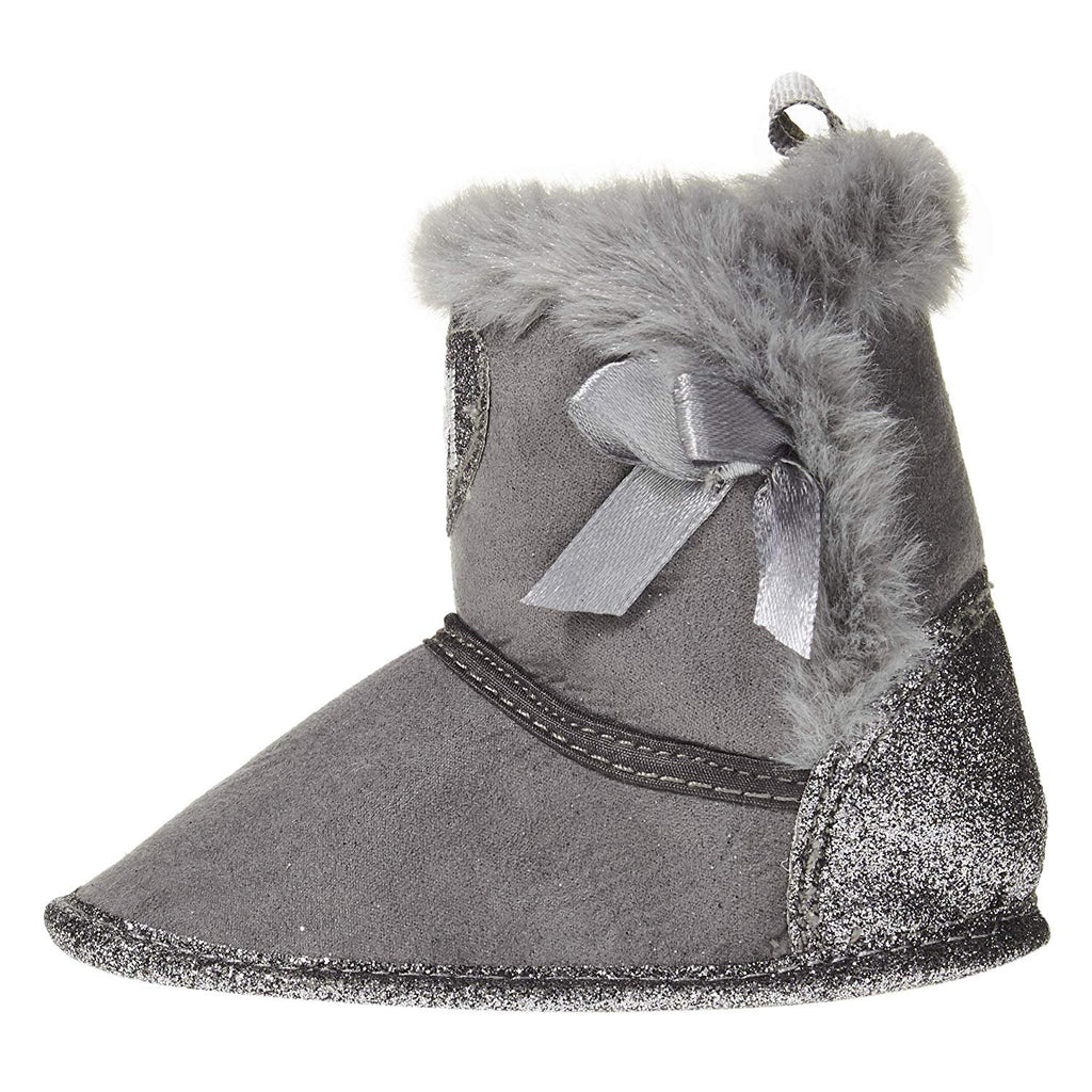 bebe Infant Girls Winter Prewalker Crib Shoe Booties with Glitter Heart and Faux Fur Cuffs Slip-On