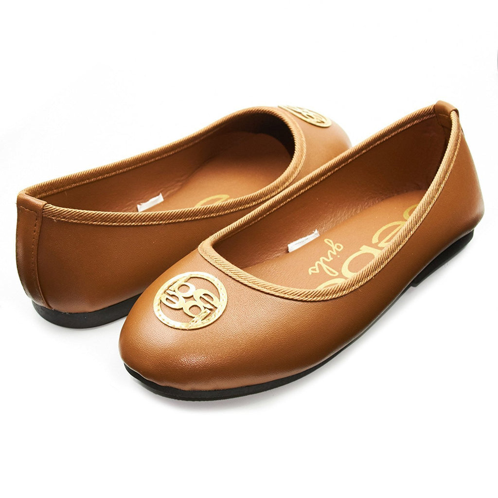 bebe Kids Girls Ballet Flat Slip On Shoes With Stitched Logo Medallion (More Colors and Sizes)