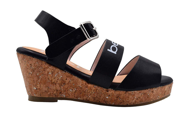 bebe Girls Heels Wedge Sandal with Holographic Upper and Glitter
