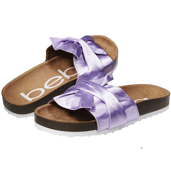 bebe Footbed Slide Sandals with Satin Knot for Girls