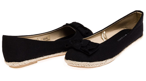 Chatties Ladies Canvas Espadrille Flats Size 5/6 - Black