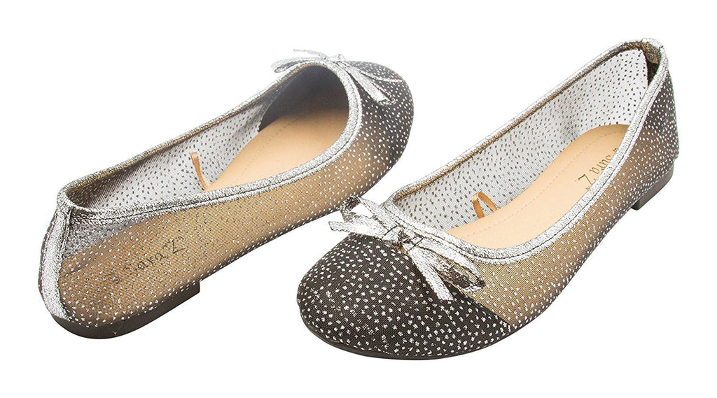 Sara Z Ladies Starry Glitter Mesh Ballet Flat Slip On With Bow, (See More Colors and Sizes)