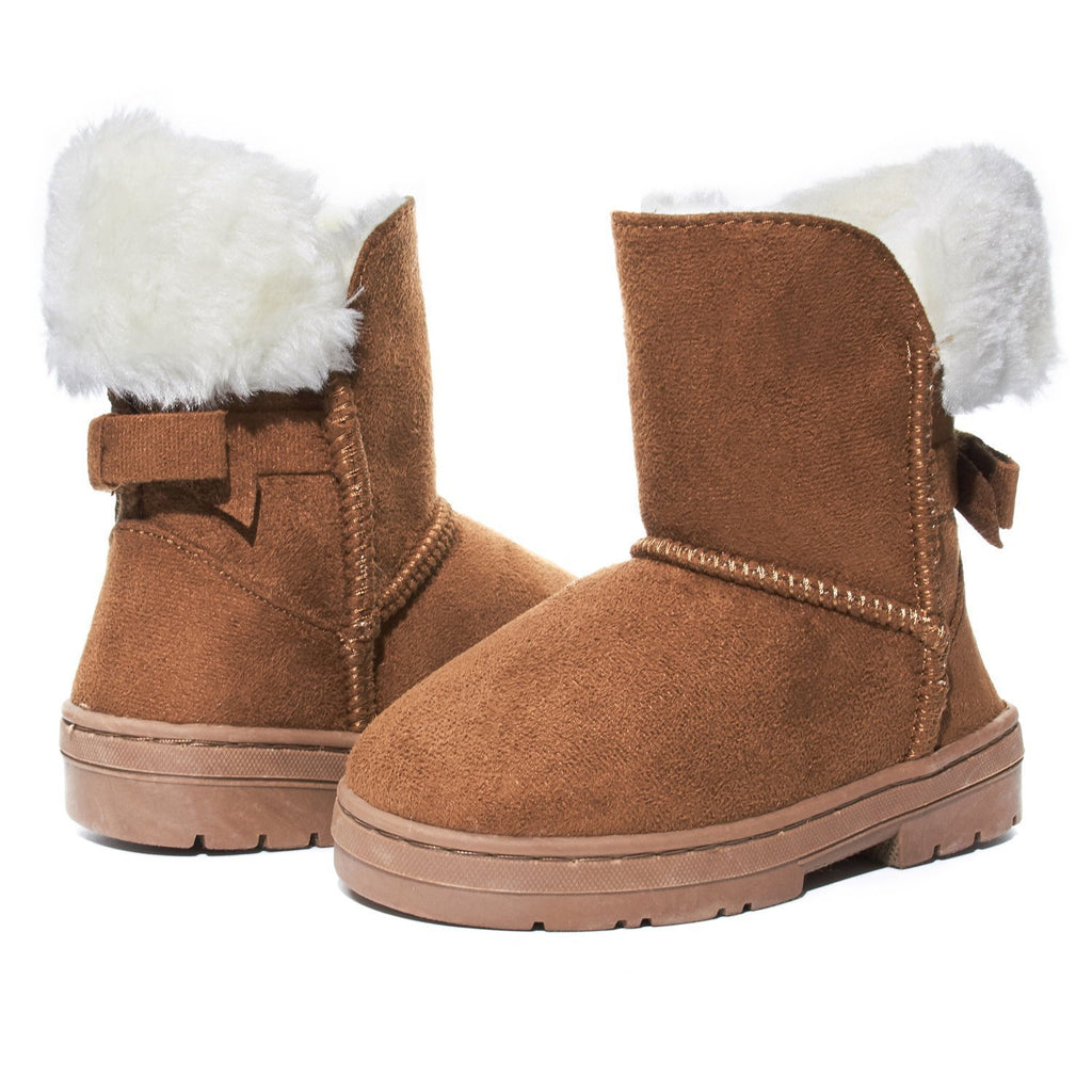 Sara Z Toddler Girls Faux Fur Suede Foldover Back Bow Fashion Winter Boots