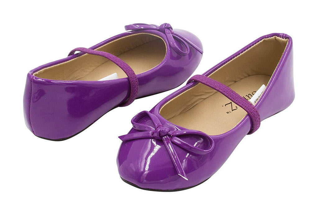 Sara Z Toddler Girls Ballet Flat Slip On With Elastic Arch Strap and Bow, Metallic or Patent (See More Sizes and Colors)