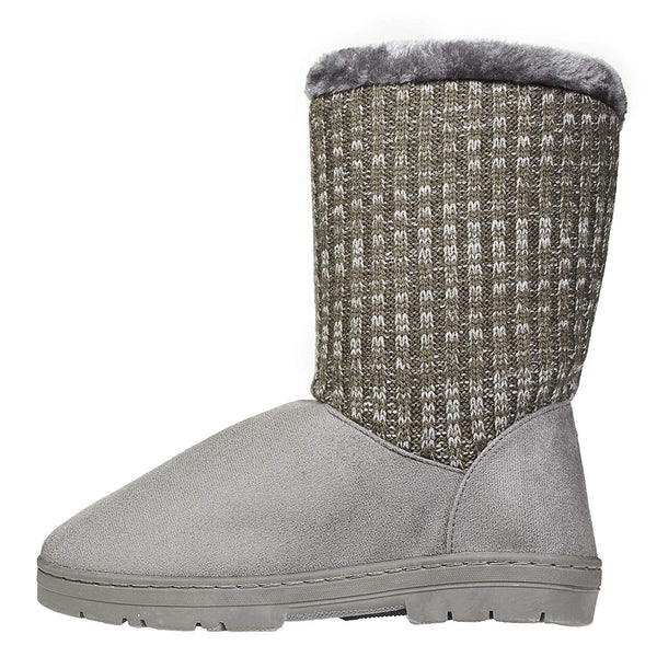 Women's Winter Boots with Knit Sweater Shaft Casual Mid-Calf Shoes