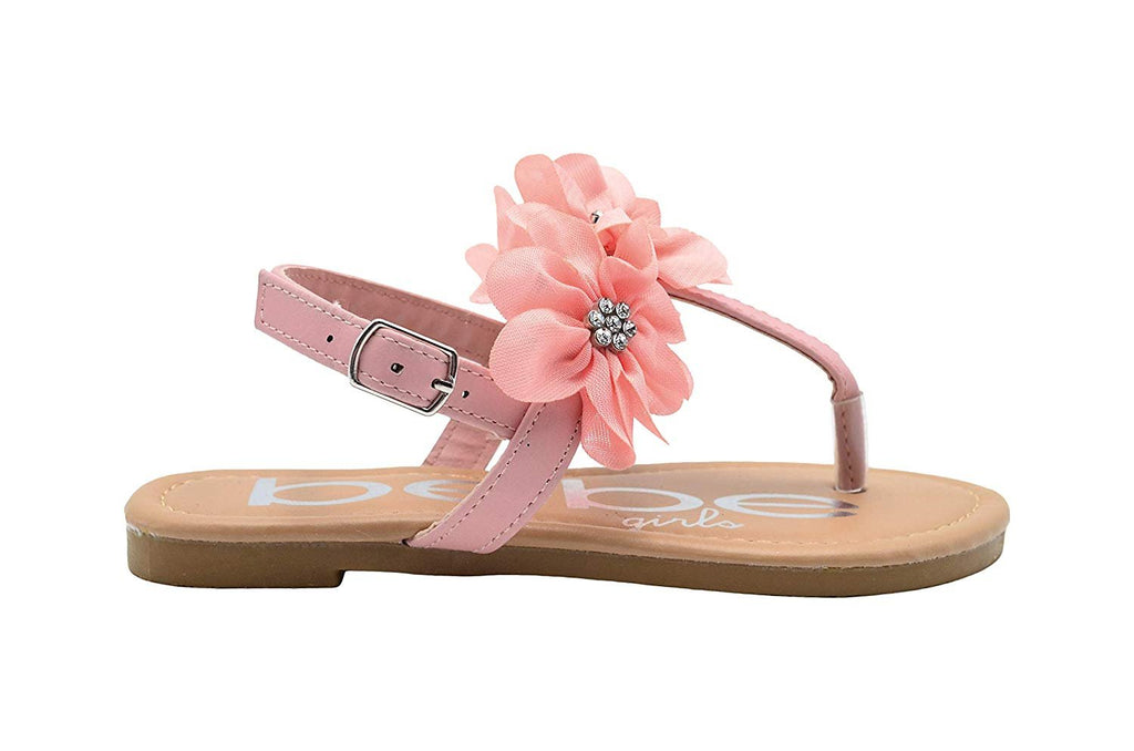 bebe Girls Fashion Sandals Slingback T Strap Thong Summer Flats with Chiffon Flowers