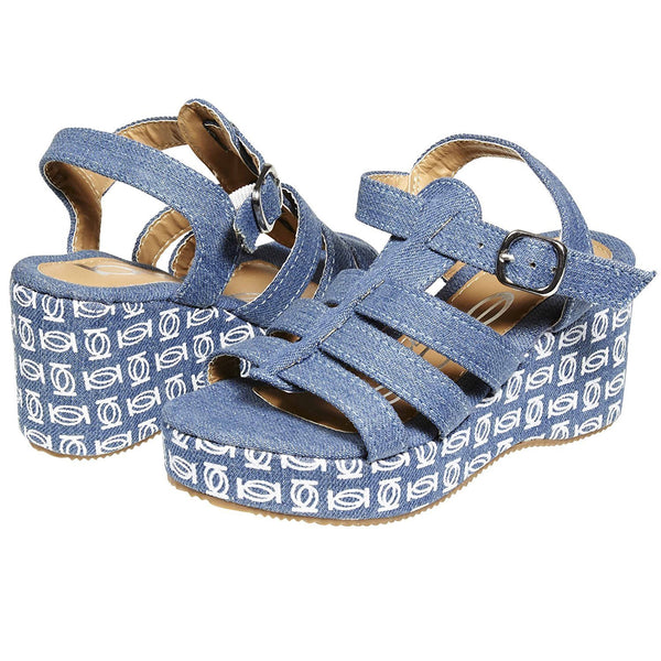 bebe Fashion Denim Wedge Slingback Sandals Classical Comfortable for Girls Big Kid