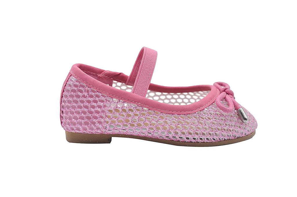 bebe Toddler Girls Ballet Flats Glitter Mesh Slip On Sandals