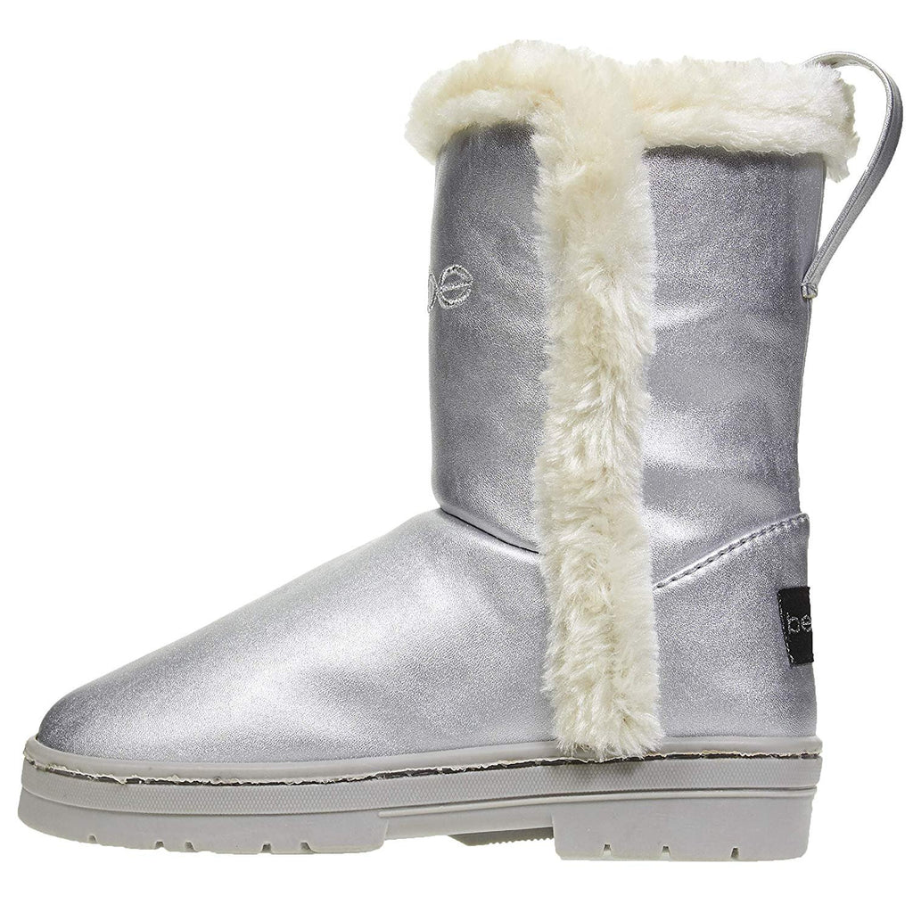 bebe Girls Pearlized PU Winter Boots with Faux Fur Trims Casual Dress Shoes