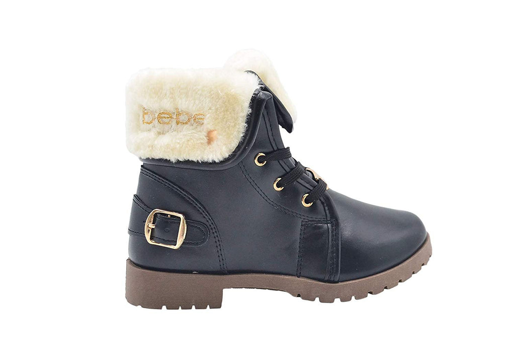 bebe Girls Big Kid Pull-On Lace-Up Short Ankle Boots with Faux Fur Fold Over Cuff