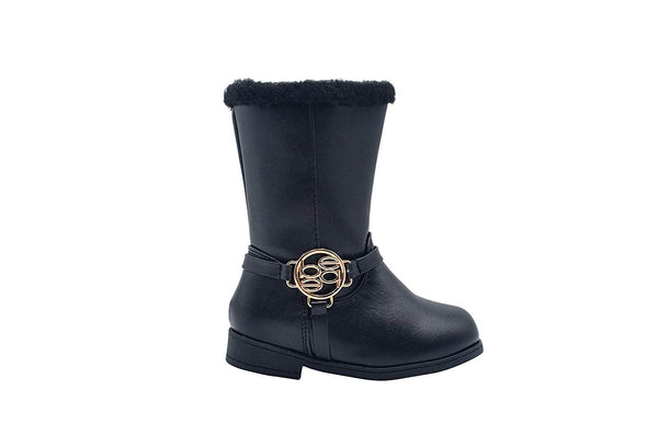 bebe Toddler Girls Little Kid Easy Pull On Mid Calf Winter Riding Boots Embellished with Faux Fur Trim and Metallic Medallion Logo