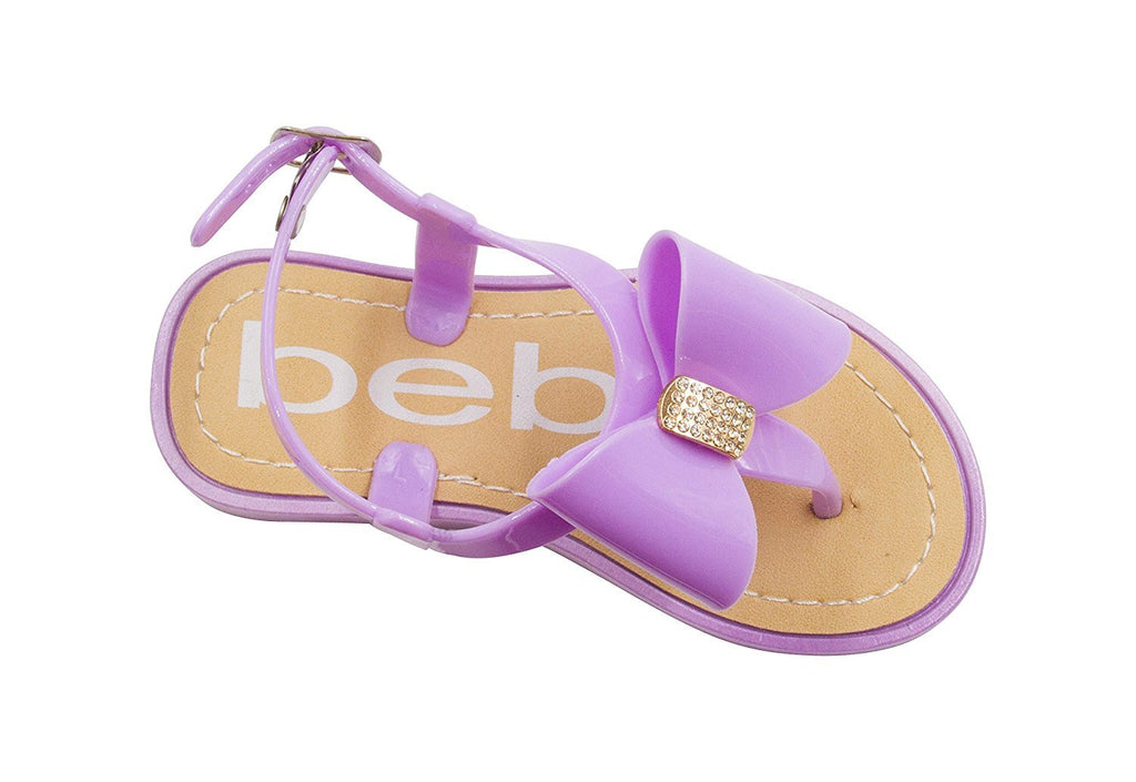 bebe Toddler Girls Vegan Sandals with Bow and Rhinestones