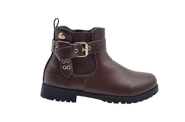 bebe Girls Big Kid Easy Pull-On Short Ankle Chelsea Boots Embellished with Buckle Straps