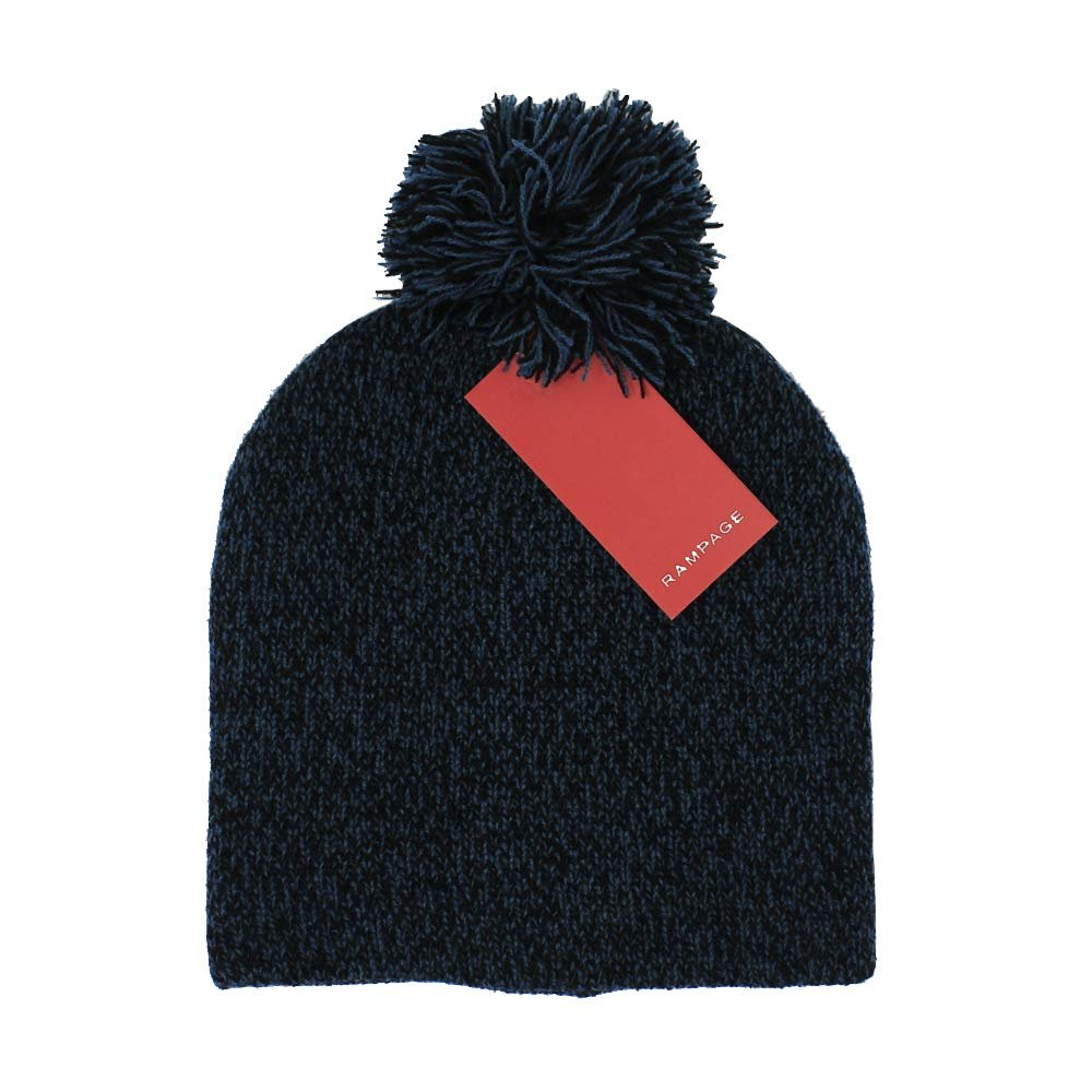 Rampage Women's Slouchy Marled Knit Beanie Cap With Pom Pom - Fall Winter Accessories
