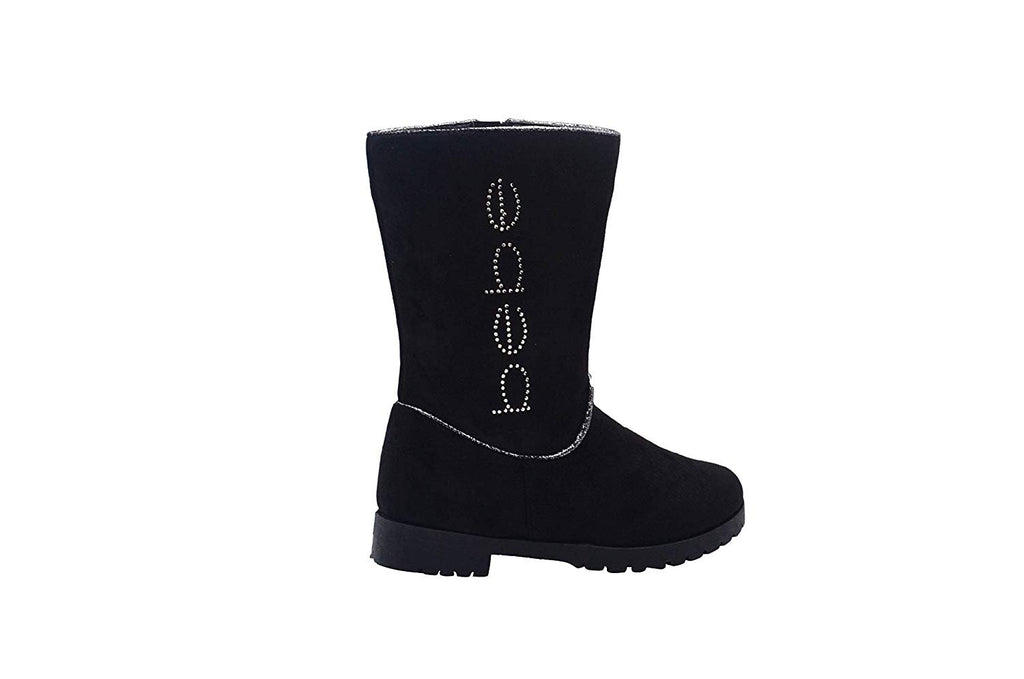 bebe Girls Big Kid Easy Pull-On Mid High Tall Microsuede Boots Embellished with Glitter Trim and Rhinestones