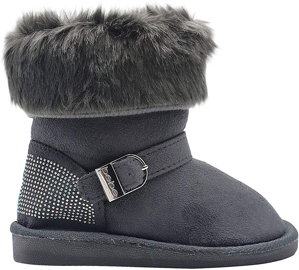 bebe Girls Big Kid Mid Calf Short Easy Pull-On Microsuede Winter Boots Embellished with Faux Fur Cuff and Rhinestone Back