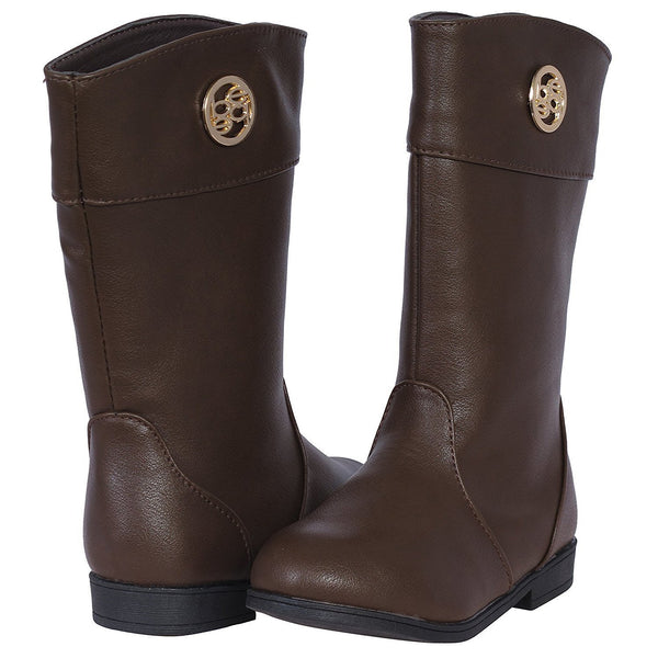 bebe Girls Riding Boots with Medallion 4 Brown/Gold