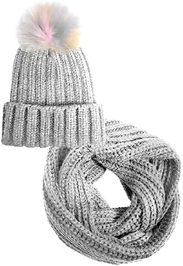 Chatties Girls Little Kid 2 Piece Fur Knit Beanie Cap with Pom Pom & Neck Scarf