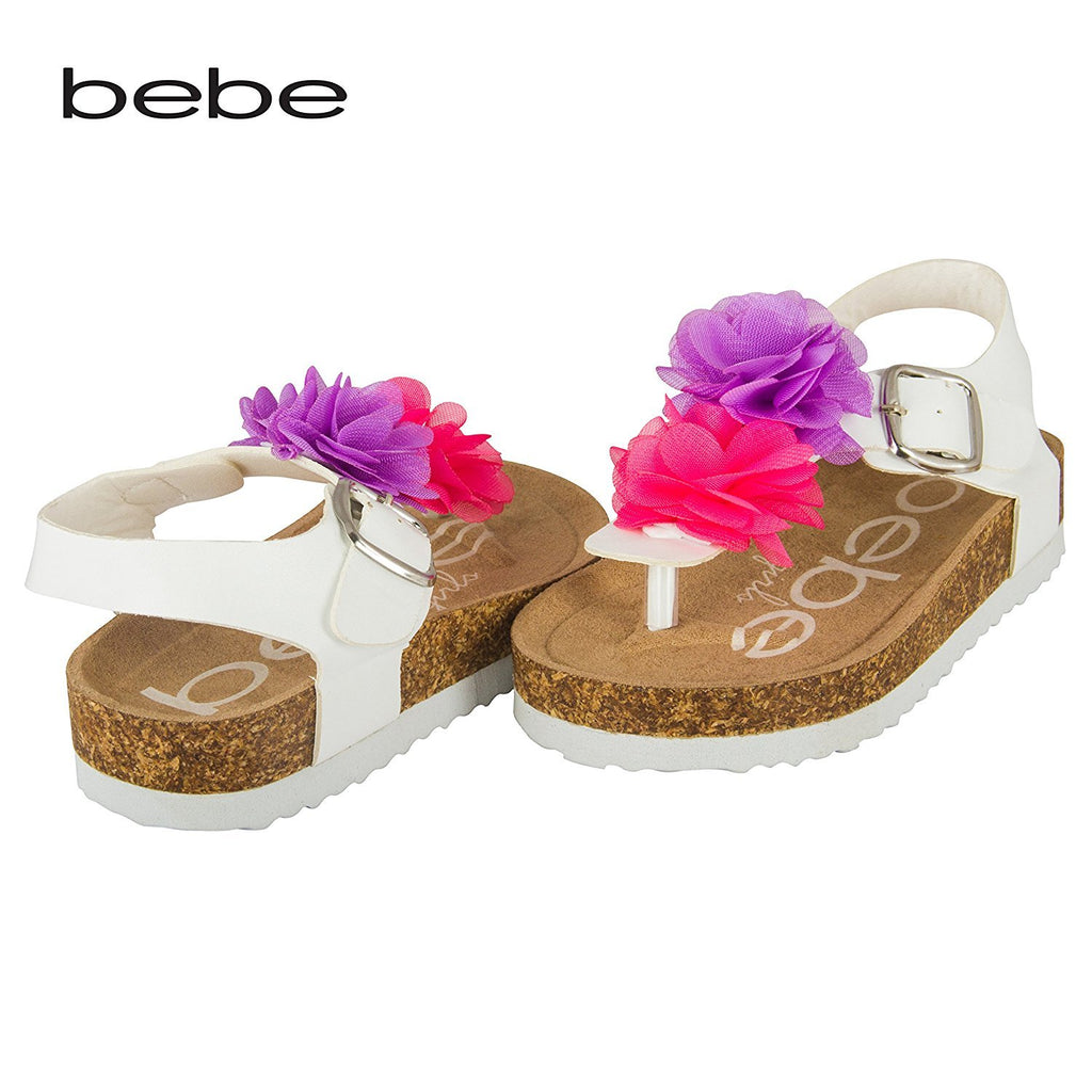 bebe Toddler Girls Thong Cork Foot Bed Sandal with Chiffon Flower Top (See More Colors and Sizes)