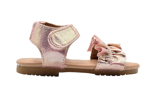 dELiAs Toddler Girls Fashion Sandals Shimmery Flats with Ruffles