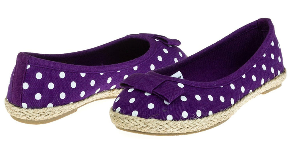 Chatties Girls Printed Canvas Espadrille Flats Size 1/2 - Purple Polka Dots