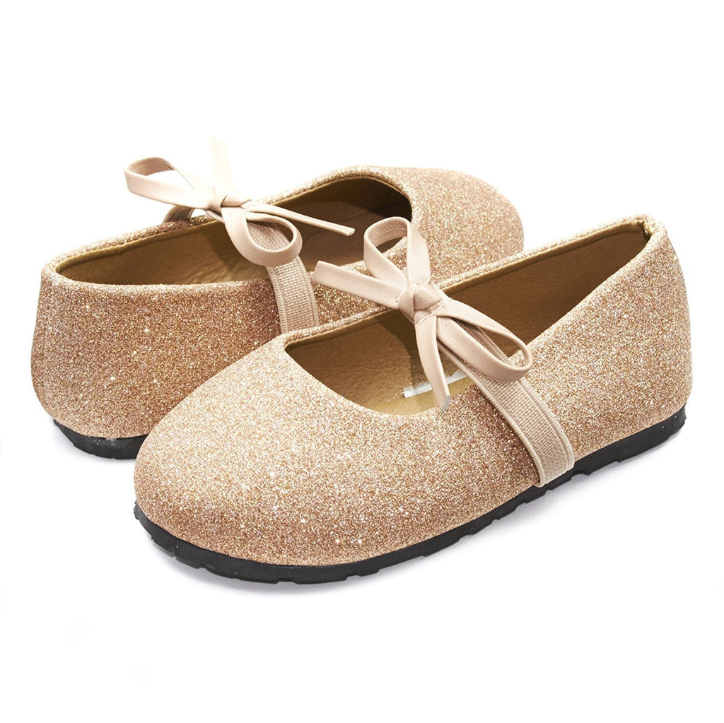 Sara Z Kids Toddlers Girls Glitter Ballet Flat Slip On Shoes With Elastic Strap and Bow Blush Pink Size 5/6