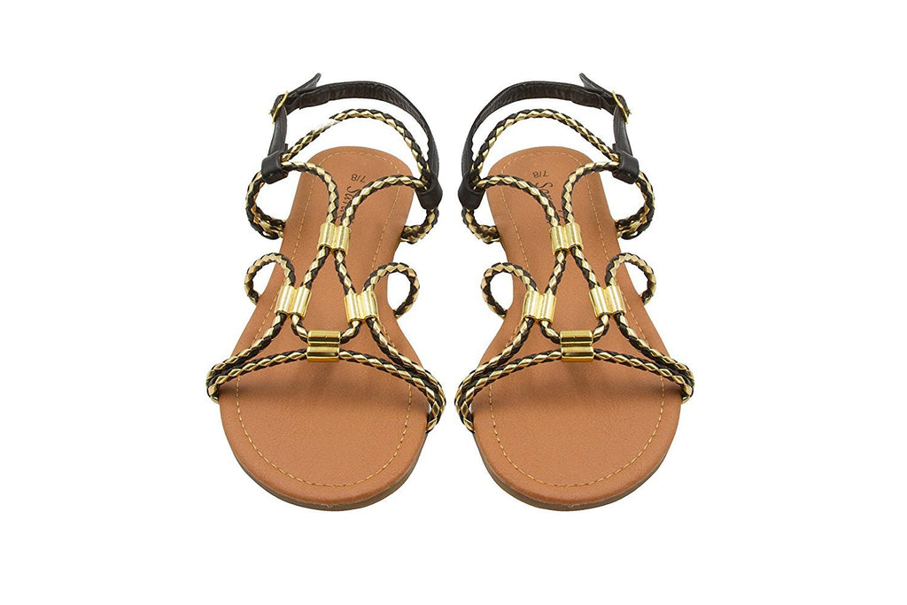 Sara Z Ladies Gladiator Sandal with Woven Metallic Straps and Metal Accents