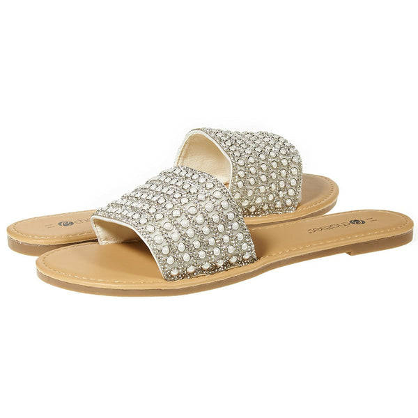 Chatties By Sara Z Womens Open Toe Crystal Rhinestone Pearl Slip-On Flat Slide Sandal Flip Flop