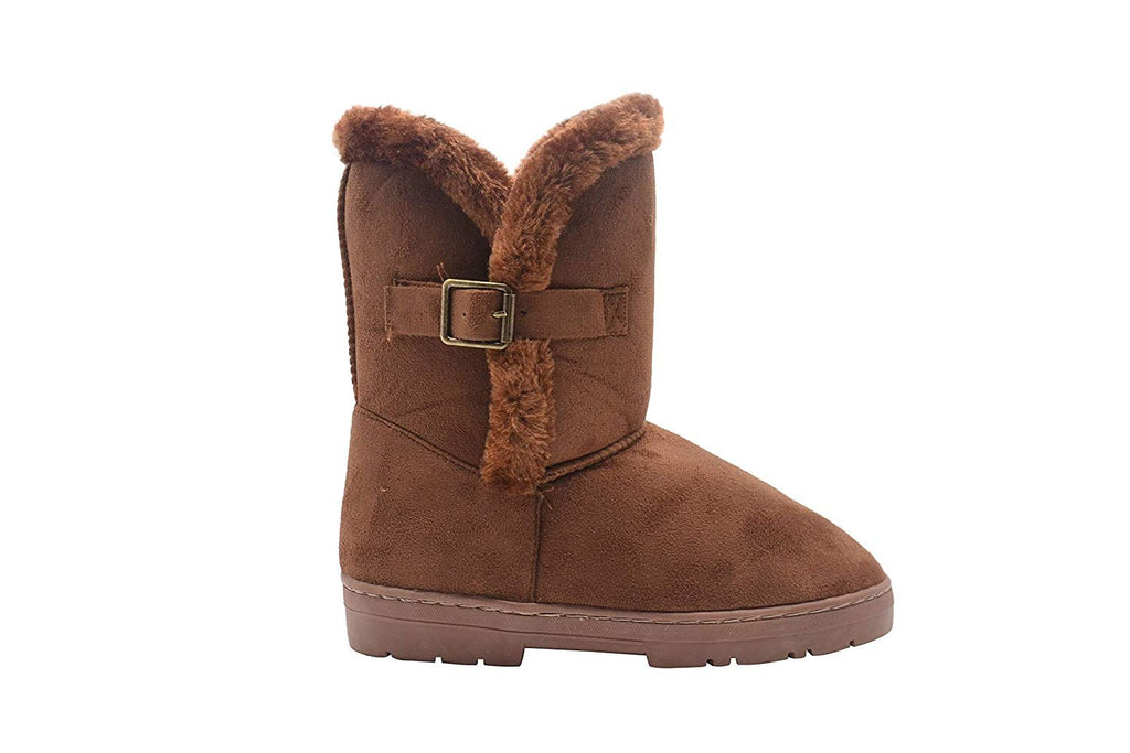 "Chatz Women's 8"" Mid Calf Microsuede Winter Boots with Faux Fur Trim and Buckle"