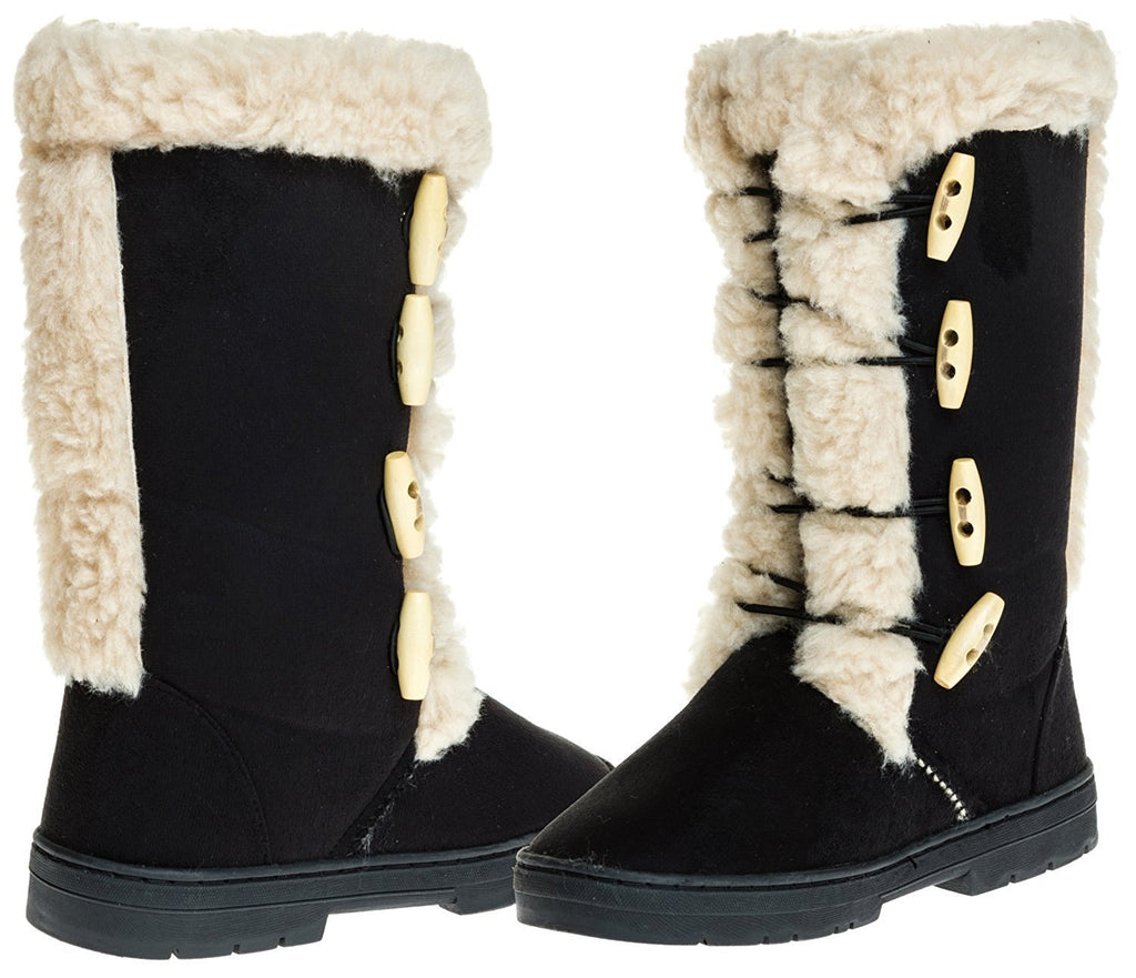 Sara Z Ladies Microsuede 10 inch Winter Boots Sherpa Trim
