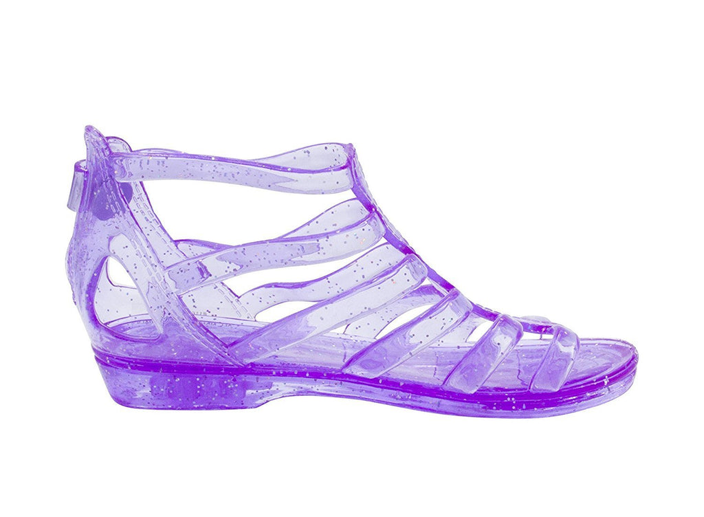 Sara Z Toddler Girls Translucent Glitter Ankle Gladiator Jelly Sandals 11/12 Purple
