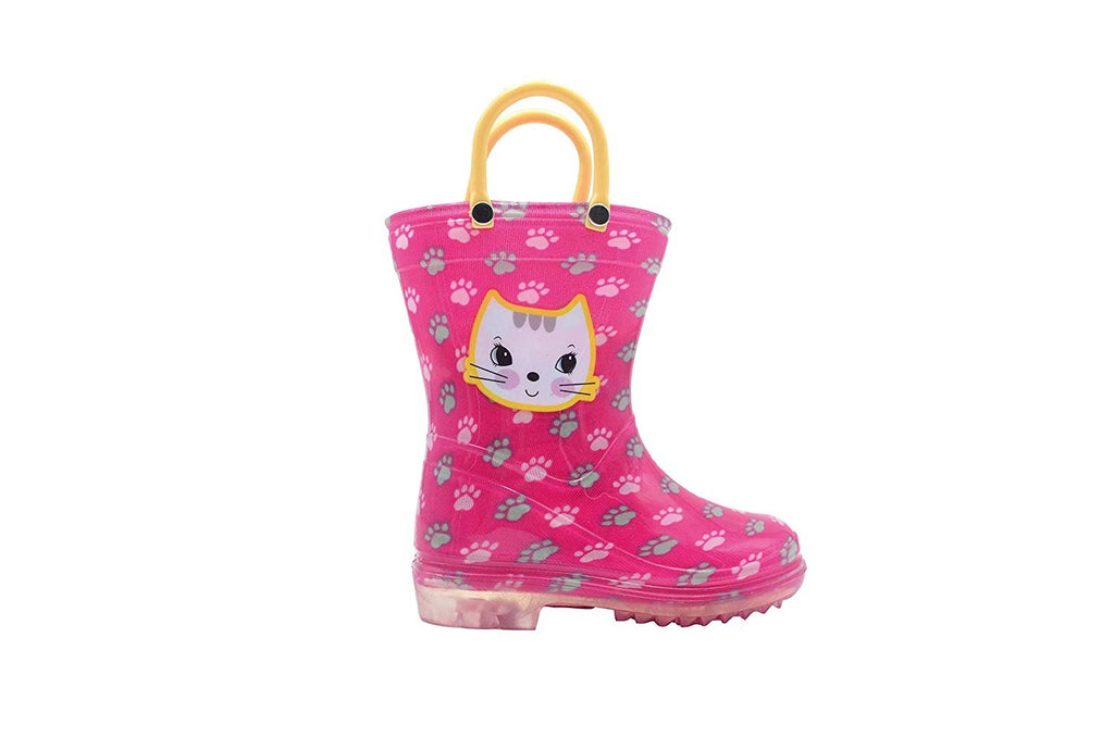 dELiAs Toddler Girls Rain Boots Cute Animal Printed with Easy-On Handles Waterproof Shoes