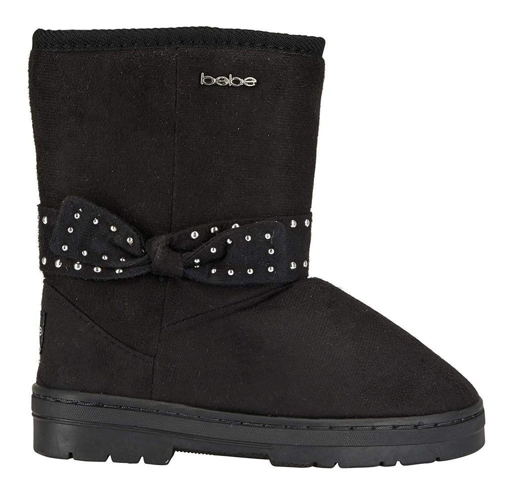 bebe Girls Microsuede Winter Boots with Gold Studded Bows Casual Dress Shoes