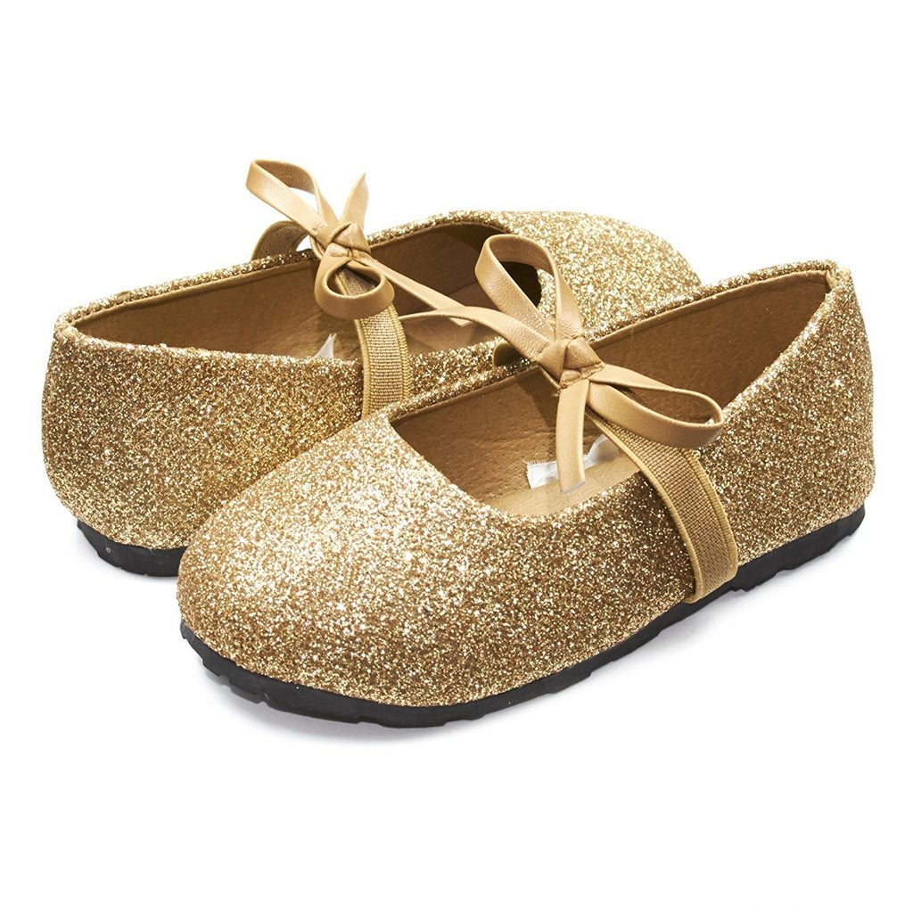 Sara Z Kids Toddlers Girls Glitter Ballet Flat Slip On Shoes With Elastic Strap and Bow Gold Size 7/8