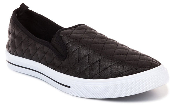 Chatties Ladies Quilted Slip-On Women Sneaker (7-8 B(M) US, Black)