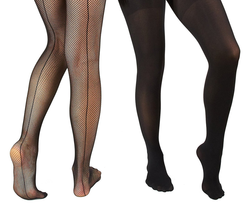 Marilyn Monroe Womens Ladies 2Pack Black Fishnet Tights With Solid Opaque (See More Sizes)