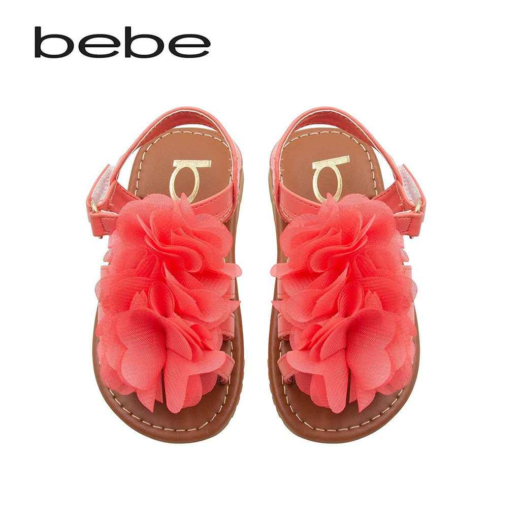 bebe Toddler Girls Sandals With Chiffon Flower 7/8 Coral