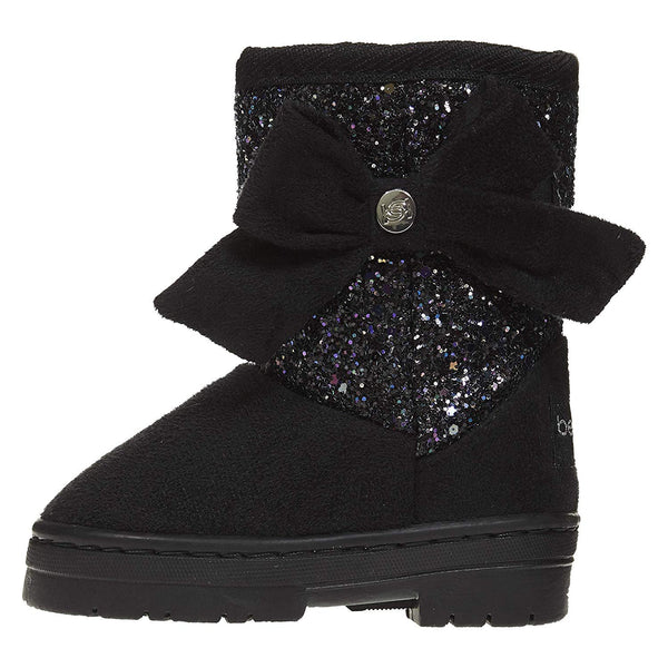 bebe Toddler Girls Microsuede Glitter Winter Boots Bow Comfort Slip-On Shoes