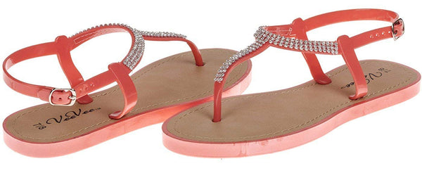Vee Vee Ladies T-Strap Sandal with Crystals - New Womens Summer Walking Shoes