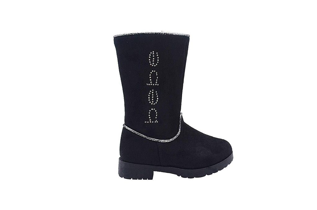 bebe Toddler Girls Little Kid Easy Pull On Tall Microsuede Winter Boots Embellished with Glitter Trim and Rhinestones