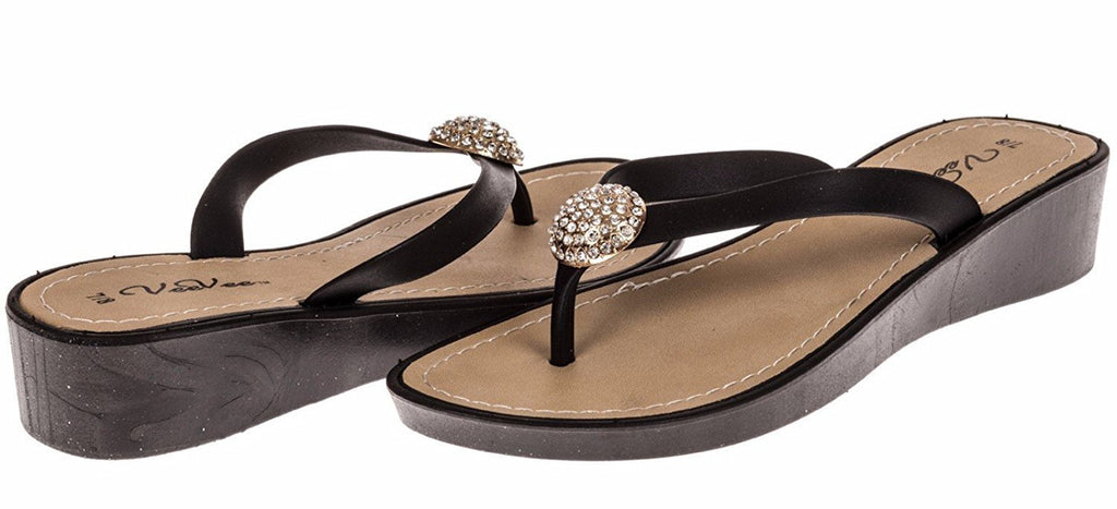 VeeVee Ladies Wedge Flip Flop With Charm - Black Size 5 / 6