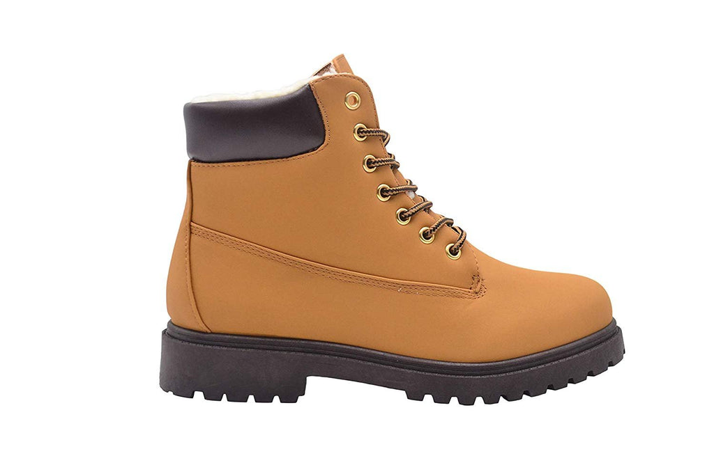Gold Toe Men's Nubuck PU Lace Up Casual Work Boots with Contrast Collar and Sherpa Lining