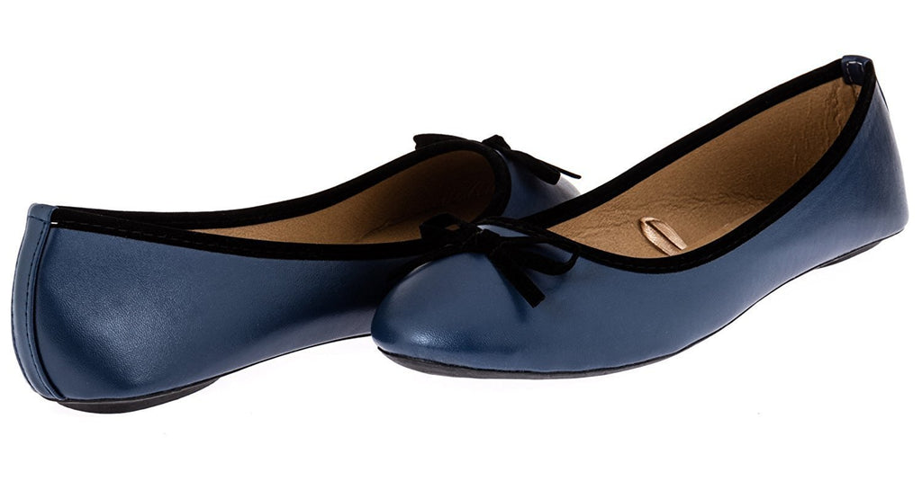 Chatties Ladies Ballet Flat with Microsuede Bow (Navy/Black), Size 11