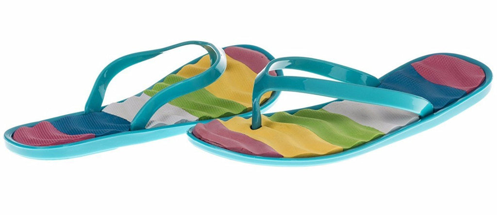 Chatties Girls Jelly Flip Flops - Turquoise, Size 3 / 4 (More Colors and Sizes Available)