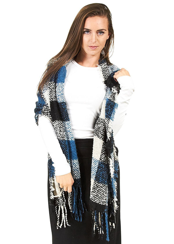 Rampage Boucle Plaid Wrap Ivory