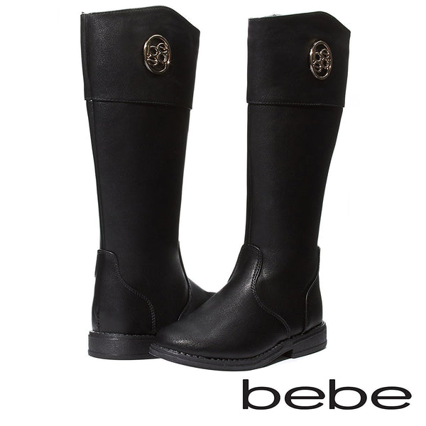 bebe Baby Toddlers Girls Black/Silver Knee High Cut Riding Boots With Medallion and Side Zip Size 5