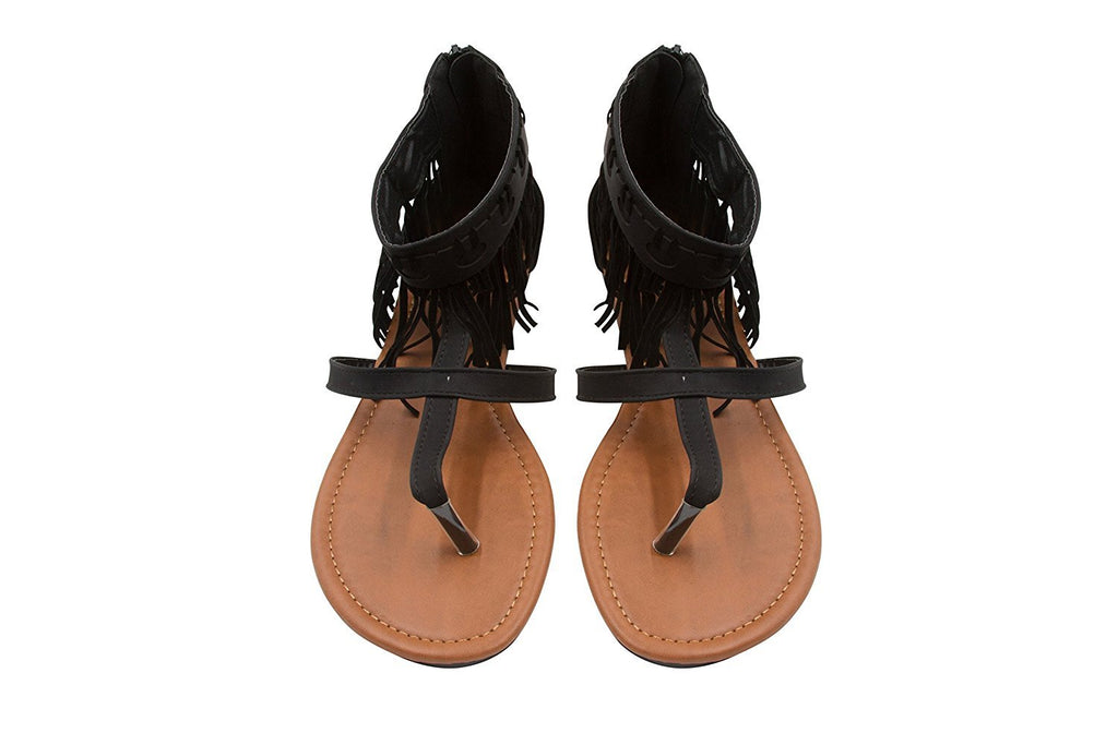 Sara Z Ladies Fringe Thong Sandal with Back Zipper