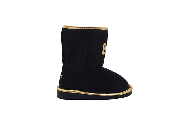 bebe Girls Big Kid Mid Calf Easy Pull-On Microsuede Winter Boots Embellished with Metallic Trim