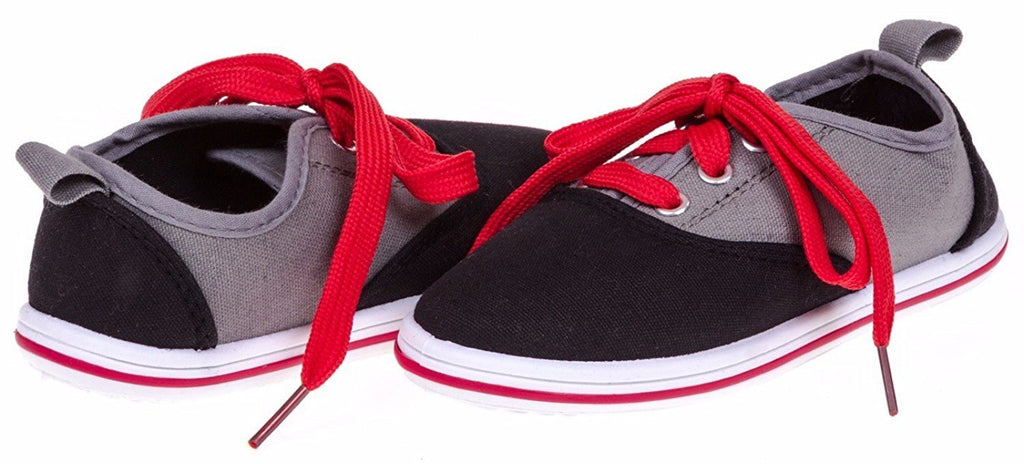 Shocked Boys Colorblock Canvas Low Sneakers Size 12/13 (Black/Grey/Red) - (Multiple Colors and Sizes Available)
